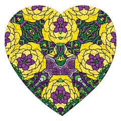 Petals In Mardi Gras Colors, Bold Floral Design Jigsaw Puzzle (heart) by Zandiepants