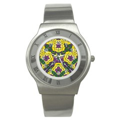 Petals In Mardi Gras Colors, Bold Floral Design Stainless Steel Watch by Zandiepants