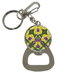 Petals In Mardi Gras Colors, Bold Floral Design Bottle Opener Key Chain by Zandiepants