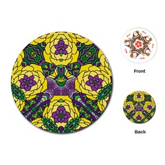 Petals In Mardi Gras Colors, Bold Floral Design Playing Cards (round) by Zandiepants