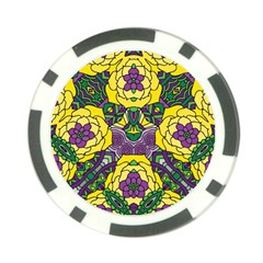 Petals In Mardi Gras Colors, Bold Floral Design Poker Chip Card Guard (10 Pack) by Zandiepants