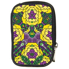 Petals In Mardi Gras Colors, Bold Floral Design Compact Camera Leather Case by Zandiepants