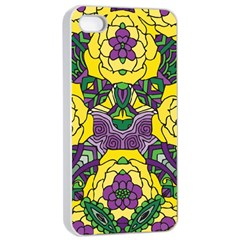 Petals In Mardi Gras Colors, Bold Floral Design Apple Iphone 4/4s Seamless Case (white) by Zandiepants
