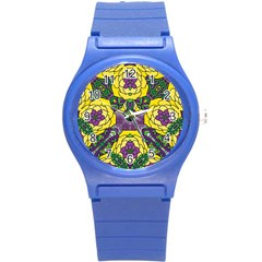 Petals In Mardi Gras Colors, Bold Floral Design Round Plastic Sport Watch (s) by Zandiepants