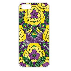 Petals In Mardi Gras Colors, Bold Floral Design Apple Iphone 5 Seamless Case (white) by Zandiepants