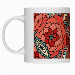 Petals In Pale Rose, Bold Flower Design White Mug by Zandiepants