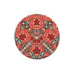 Petals In Pale Rose, Bold Flower Design Magnet 3  (round) by Zandiepants