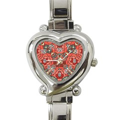 Petals In Pale Rose, Bold Flower Design Heart Italian Charm Watch by Zandiepants