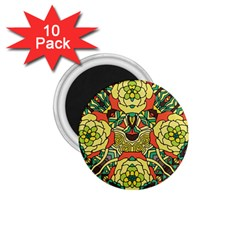Petals, Retro Yellow, Bold Flower Design 1 75  Magnet (10 Pack)  by Zandiepants
