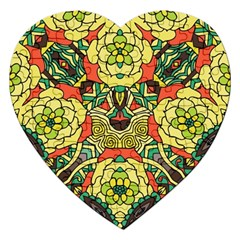 Petals, Retro Yellow, Bold Flower Design Jigsaw Puzzle (heart) by Zandiepants