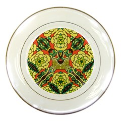 Petals, Retro Yellow, Bold Flower Design Porcelain Plate by Zandiepants