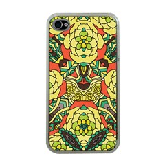 Petals, Retro Yellow, Bold Flower Design Apple Iphone 4 Case (clear) by Zandiepants