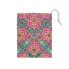 Petals, Carnival, Bold Flower Design Drawstring Pouch (medium) by Zandiepants