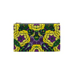 Petals In Mardi Gras Colors, Bold Floral Design Cosmetic Bag (small) by Zandiepants