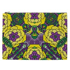 Petals In Mardi Gras Colors, Bold Floral Design Cosmetic Bag (xxl) by Zandiepants