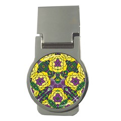 Petals In Mardi Gras Colors, Bold Floral Design Money Clip (round) by Zandiepants