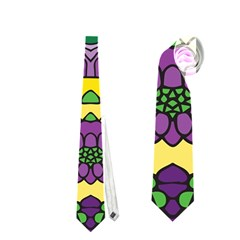 Petals In Mardi Gras Colors, Bold Floral Design Necktie (two Side) by Zandiepants