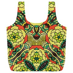 Petals, Retro Yellow, Bold Flower Design Full Print Recycle Bag (xl) by Zandiepants