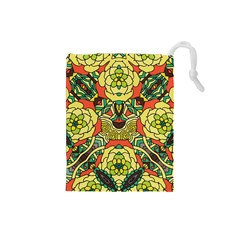 Petals, Retro Yellow, Bold Flower Design Drawstring Pouch (small) by Zandiepants