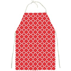 Poppy Red Quatrefoil Pattern Full Print Apron by Zandiepants