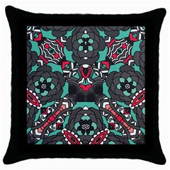 Petals In Dark & Pink, Bold Flower Design Throw Pillow Case (black) by Zandiepants