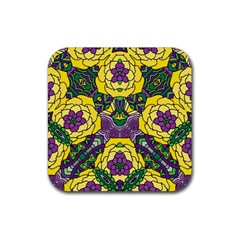 Petals In Mardi Gras Colors, Bold Floral Design Rubber Square Coaster (4 Pack) by Zandiepants