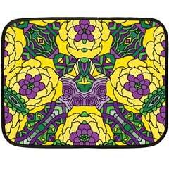 Petals In Mardi Gras Colors, Bold Floral Design Double Sided Fleece Blanket (mini) by Zandiepants