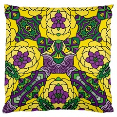Petals In Mardi Gras Colors, Bold Floral Design Large Cushion Case (one Side) by Zandiepants