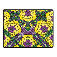 Petals In Mardi Gras Colors, Bold Floral Design Double Sided Fleece Blanket (small) by Zandiepants