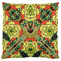 Petals, Retro Yellow, Bold Flower Design Large Cushion Case (one Side) by Zandiepants
