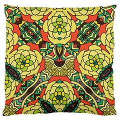 Petals, Retro Yellow, Bold Flower Design Large Flano Cushion Case (two Sides) by Zandiepants