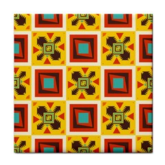 Retro Colors Squares Pattern                            			tile Coaster by LalyLauraFLM