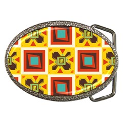 Retro Colors Squares Pattern                            			belt Buckle by LalyLauraFLM