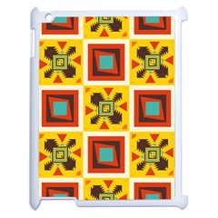 Retro Colors Squares Pattern                            			apple Ipad 2 Case (white) by LalyLauraFLM