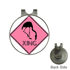 Flamingo Crossing Traffic Sign Hat Clips With Golf Markers by CrypticFragmentsColors