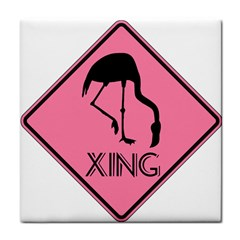 Flamingo Crossing Traffic Sign Face Towel by CrypticFragmentsColors