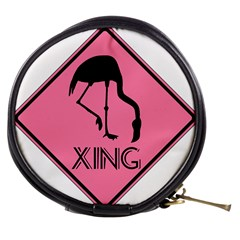 Flamingo Crossing Traffic Sign Mini Makeup Bags by CrypticFragmentsColors