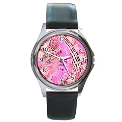 Pretty Pink Circles Curves Pattern Round Metal Watch by CrypticFragmentsDesign