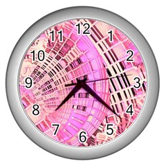 Pretty Pink Circles Curves Pattern Wall Clock (silver) by CrypticFragmentsDesign