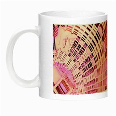 Pretty Pink Circles Curves Pattern Night Luminous Mug by CrypticFragmentsDesign