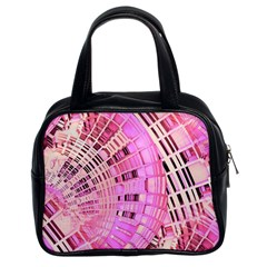 Pretty Pink Circles Curves Pattern Classic Handbag (two Sides) by CrypticFragmentsDesign