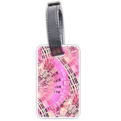 Pretty Pink Circles Curves Pattern Luggage Tag (one Side) by CrypticFragmentsDesign