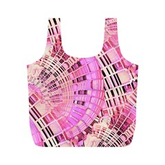 Pretty Pink Circles Curves Pattern Full Print Recycle Bag (m) by CrypticFragmentsDesign