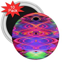 Neon Night Dance Party Pink Purple 3  Magnets (10 Pack)  by CrypticFragmentsDesign