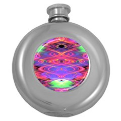Neon Night Dance Party Pink Purple Round Hip Flask (5 Oz) by CrypticFragmentsDesign