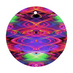 Neon Night Dance Party Pink Purple Round Ornament (two Sides)  by CrypticFragmentsDesign