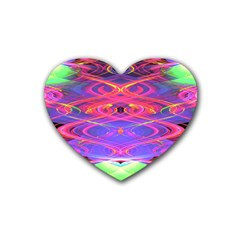 Neon Night Dance Party Pink Purple Heart Coaster (4 Pack)  by CrypticFragmentsDesign