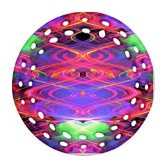 Neon Night Dance Party Pink Purple Round Filigree Ornament (2side)