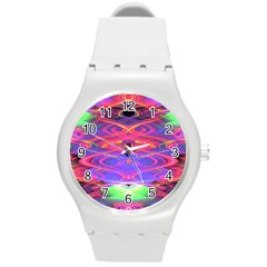 Neon Night Dance Party Pink Purple Round Plastic Sport Watch (m) by CrypticFragmentsDesign