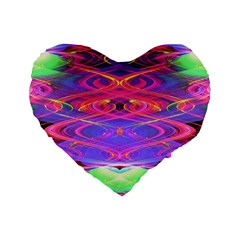 Neon Night Dance Party Pink Purple Standard 16  Premium Flano Heart Shape Cushions by CrypticFragmentsDesign